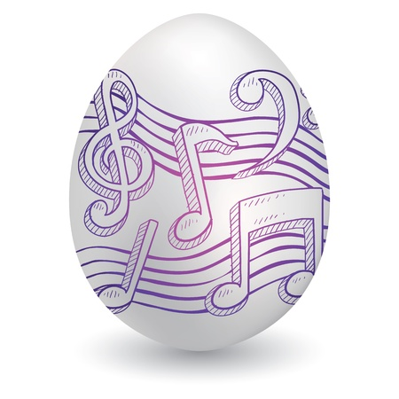 Doodle style music notes musical notation sketch on decorated holiday Easter Egg in vector format