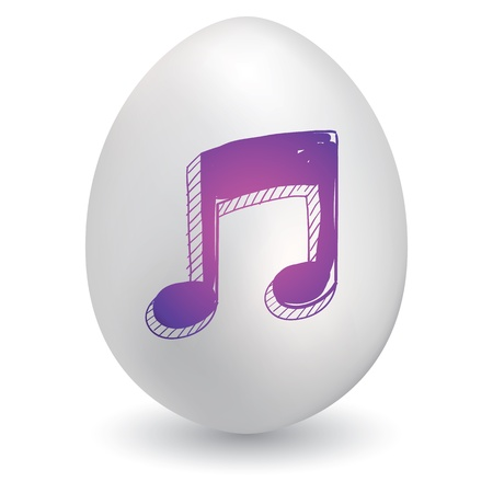 music: Doodle style music notes sketch on decorated Easter Egg in vector format