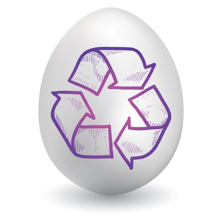 Doodle style recycling symbol sketch on decorated holiday Easter Egg in vector format  Stock Vector - 14420456