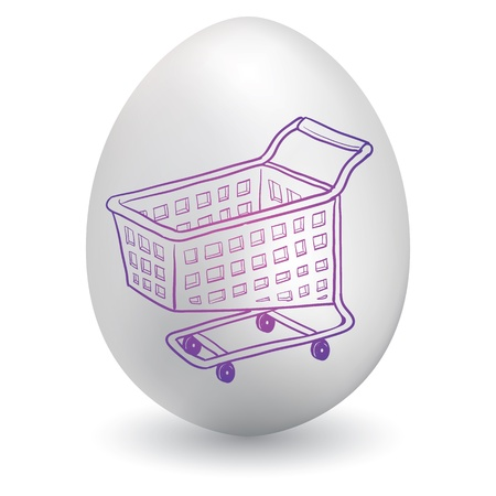 shopping buggy: Doodle style shopping cart icon sketch on decorated holiday Easter Egg in vector format