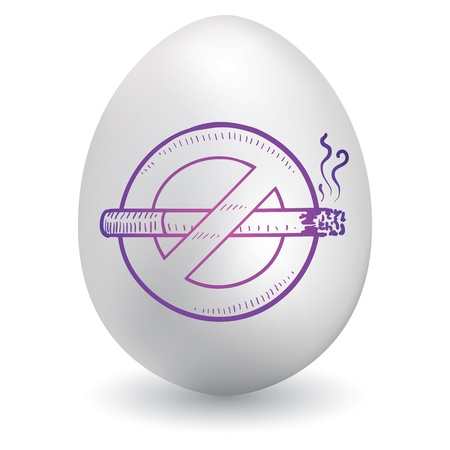 smoking stop: Doodle style no smoking symbol sketch on decorated holiday Easter Egg in vector format