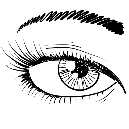 cornea: Doodle style human eye closeup sketch in vector format   Illustration