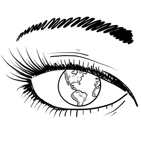 oeil dessin: Doodle croquis oeil style global en format vectoriel Illustration