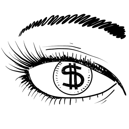 facial features: Doodle style eye on the prize sketch in vector format
