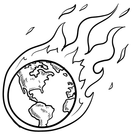 flaming: Doodle style flaming globe illustration in vector format  Illustration