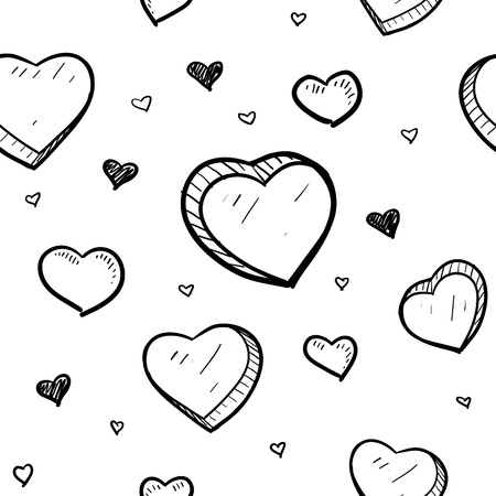 Doodle style Valentine s Day romantic heart seamless background that can be tiles in vector format  Illustration