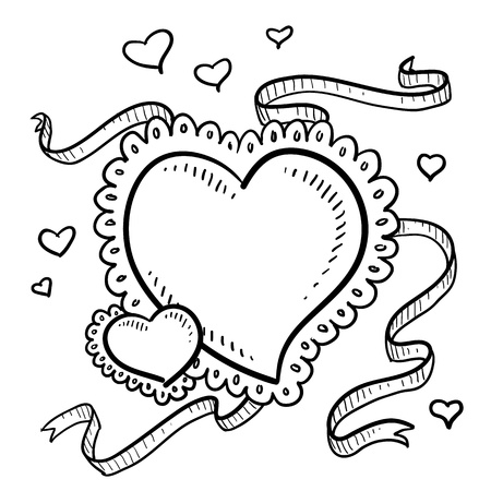 Doodle style Valentine s Day heart design with streaming ribbons and floating romantic hearts in vector format