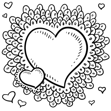 Doodle style Valentine s Day heart with elaborate border around the main icon and smaller hearts positioned in the art space in vector format
