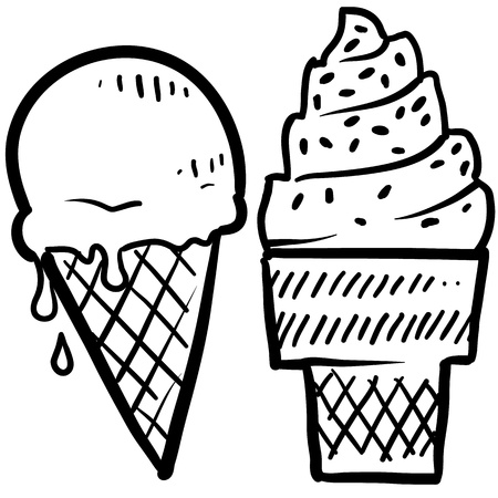 helados en cono: Crema de Doodle de hielo congelado cono de postres al estilo boceto en formato vectorial