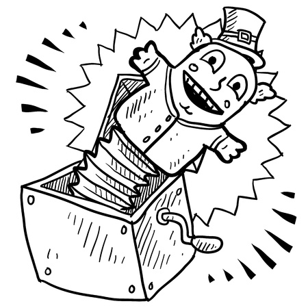 jack in a box: Doodle style jack in the box illustration in vector format
