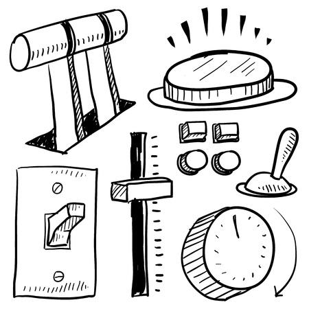 ベクトル形式のセット落書きスタイル電気機器にはレベル、ボタン、スライド、スイッチ、およびフェース プレートが含まれています