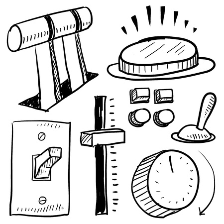 palanca: Equipo de Doodle de electricidad estilo en formato vectorial Set incluye el nivel, el botón, diapositivas, interruptor, y la placa frontal Vectores