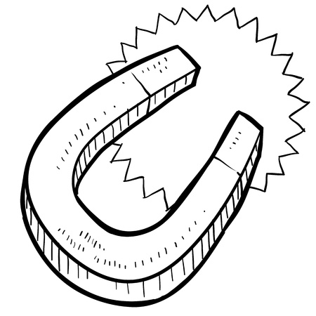 magnetismo: Estilo Doodle ilustración imán en formato vectorial