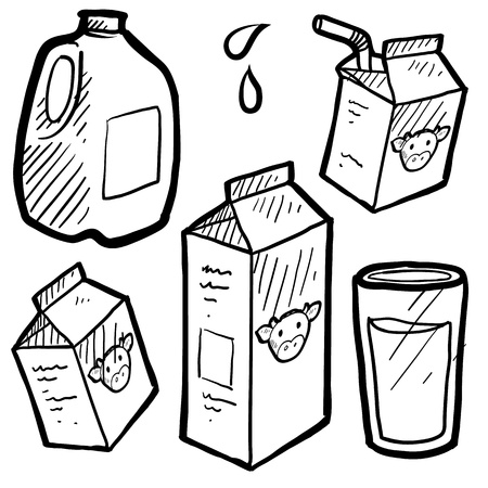 Doodle style milk and juice illustration set in vector format  Includes paper and plastic cartons and full glass of liquid