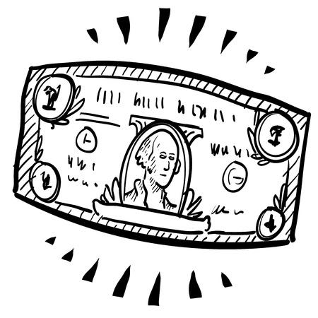capitalismo: Estilo papel moeda Doodle ou ilustra��o nota de d�lar com a marca de movimento indicando alongamento ou expans�o arquivo vetorial
