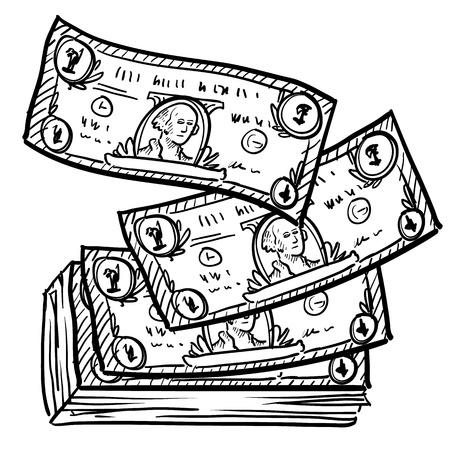 capitalismo: Estilo papel-moeda ou notas de dólar Doodle ilustração em formato vetorial