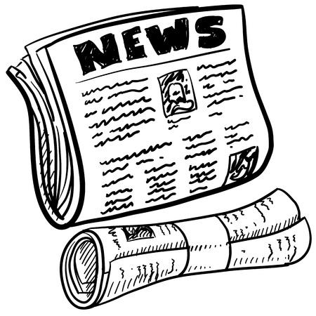 Doodle Stil Zeitung Darstellung in Vektor-Format enthält gefaltete und gerolltes Papier mit Überschrift Vektorgrafik