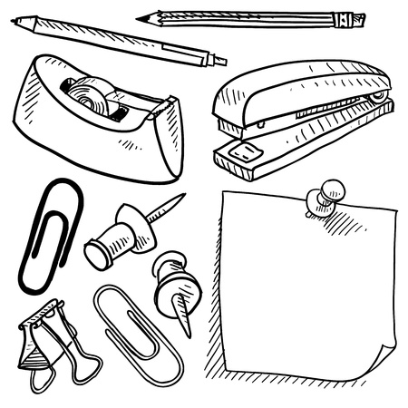 Doodle style office supplies illustration in vector format  Set includes tape dispenser, pencil, pen, stapler, sticky note, stickpin, and paperclips   Vector