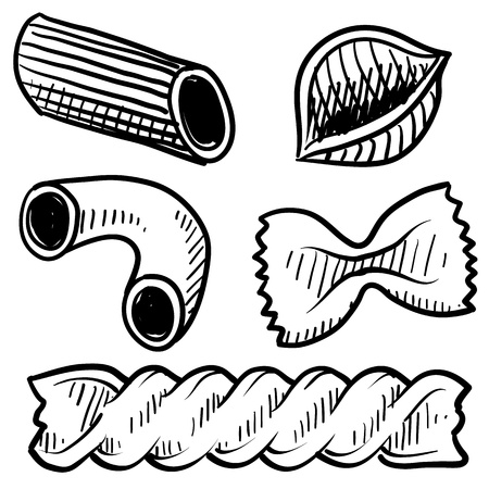 pasta: Doodle style vector illustration of various pasta types used in italian cuisine, including macaroni, rigatoni, penne, shells, rotini, and farfalle  bowtie