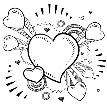 Doodle style Valentine s Day romantic heart with exploding pop background in vector format  Illustration