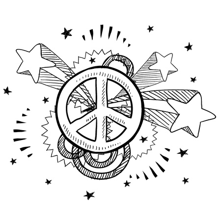peace movement: Doodle style peach sign with 1970s pop explosion background sketch in vector format
