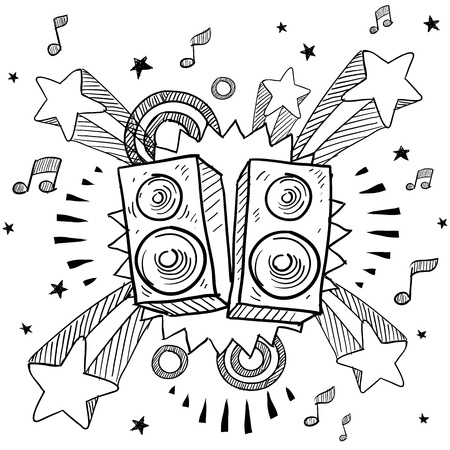 Doodle style stereo speakers illustration on a retro pop explosion background in vector format