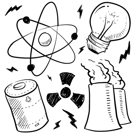 atomic: Doodle style nuclear energy or power sketch in vector format  Set includes atom, battery, light bulb, radiation warning, and nuclear power plant