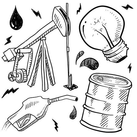pozo petrolero: Aceite de estilo y esquema de Doodle de energía de gas en el conjunto de vectores en formato incluye la bomba de gas, el petróleo, así, la bombilla, y el barril
