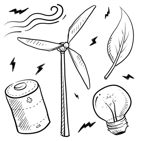 Doodle style renewable wind energy sketch in vector format  Set includes leaf, battery, light bulb, and windmill  Illustration