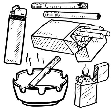 carcinogen: Doodle estilo de los objetos de consumo de cigarrillos en formato vectorial Set incluye cigarrillos, envases, encendedores, ceniceros y humo