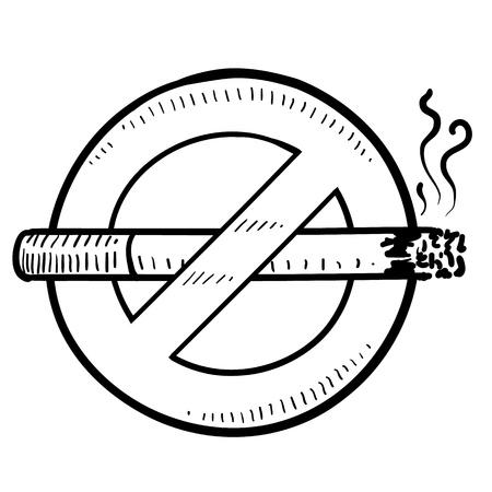 Doodle style nonsmoking sign in vector format  Ilustração