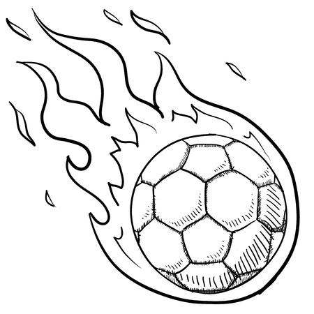 futbol: Stile fiammeggiante Doodle soccer futbol o illustrazione in formato vettoriale Vettoriali