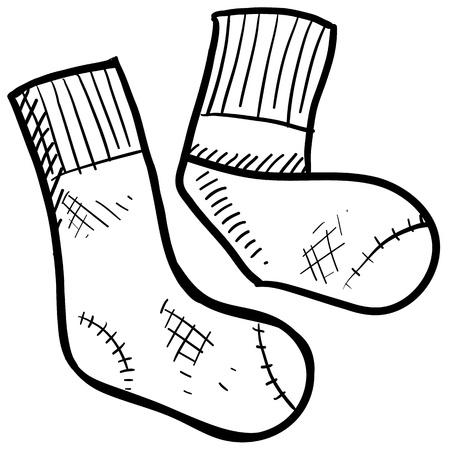 Doodle ilustración estilo de medias deportivas en formato vectorial