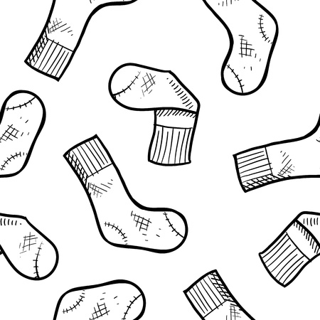 Doodle style seamless athletic socks background in vector format, ready for tiling   Ilustração