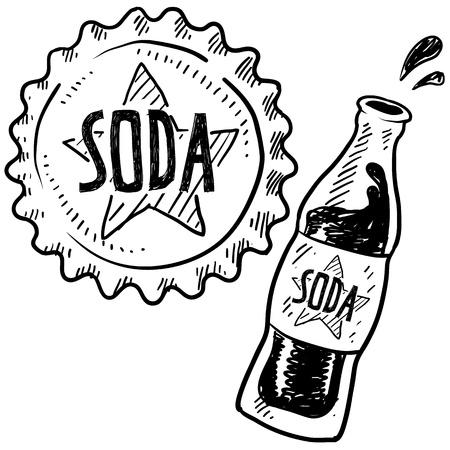 gaseosas: Doodle estilo botella de refresco con tapa ilustraci�n en formato vectorial