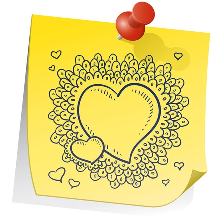 Doodle style Valentine s Day heart pattern with elaborate border on a yellow sticky note  File is vector for editing and scaling Stock Vector - 14420417