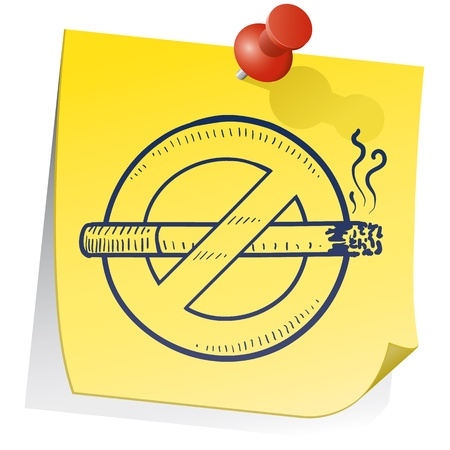 smoking ban: Doodle style nonsmoking symbol on yellow stick note in vector format