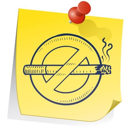 carcinogen: Estilo Doodle no fumadores s�mbolo en nota palo amarillo en formato vectorial