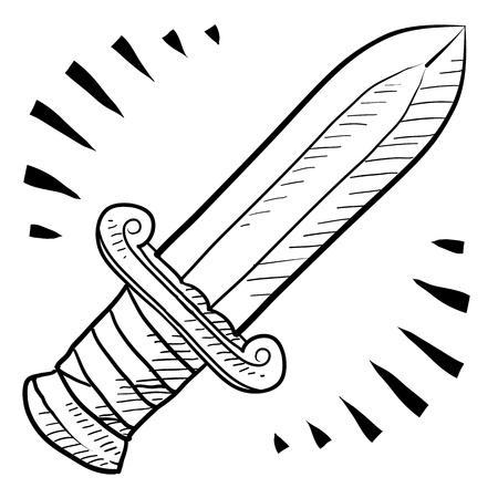Doodle style ancient sword sketch in vector format