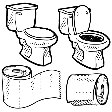 flush toilet: Doodle style bathroom objects illustration including toilet and paper in vector format