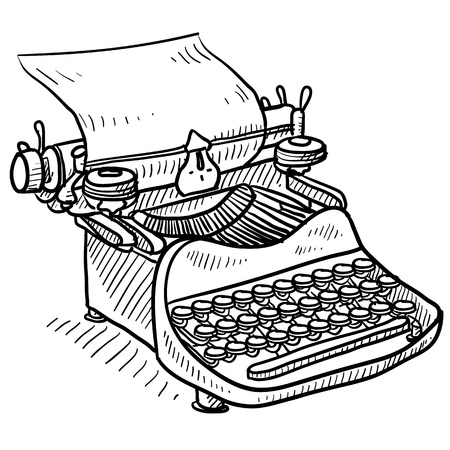 correspond: Doodle style antique manual typewriter vector illustration