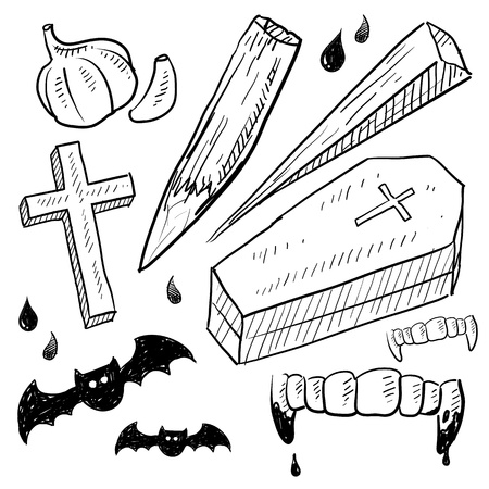 coffin: Doodle style vampire lore set in vector format  Includes coffin, stake, garlic, crucifix, bat, and bloody fangs