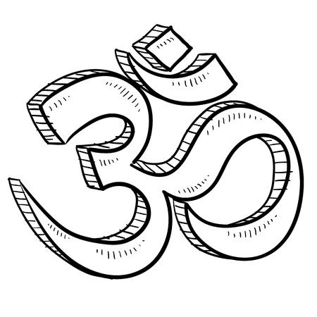 Doodle style hindu om or yoga symbol sketch in vector format  Illustration