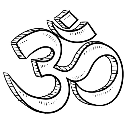 Doodle style hindu om or yoga symbol sketch in vector format  Çizim