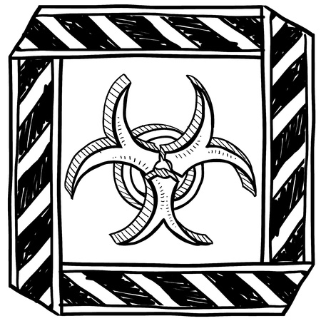 Doodle style biohazard icon with caution tape border  Vector