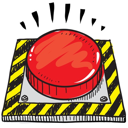 panic button: Doodle style big red panic button illustration in vector format