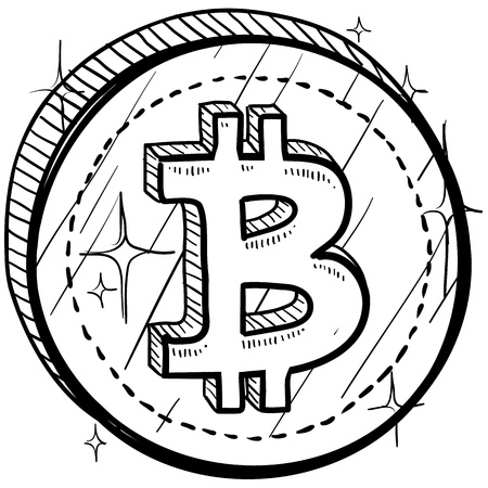 world trade: Moneda de estilo Doodle con el s�mbolo de la moneda - Bitcoin