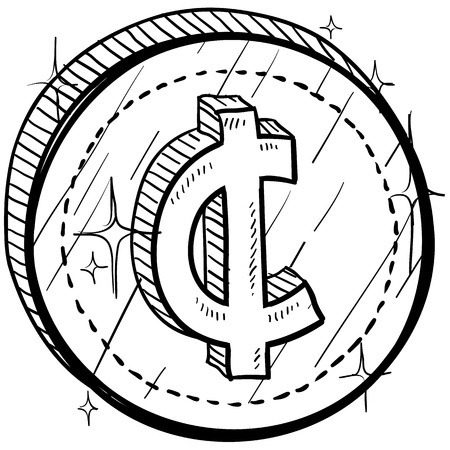 transact: Doodle style coin with currency symbol - cent
