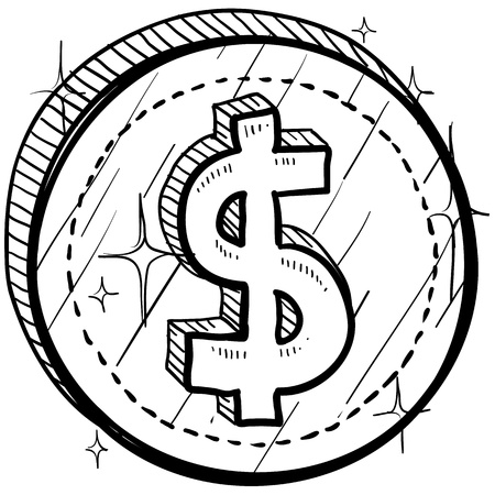 business sign: Doodle style coin with currency symbol - American dollar