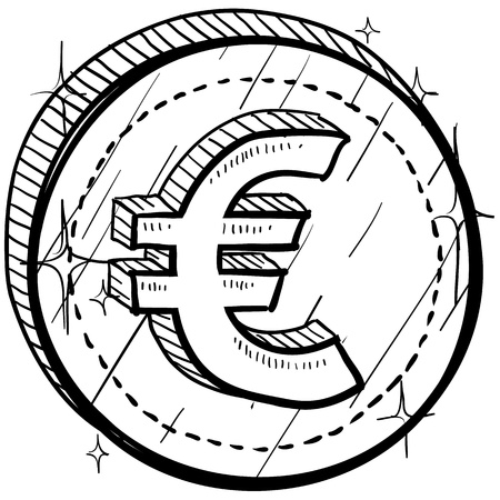 Doodle style coin with currency symbol - Euro  Vector
